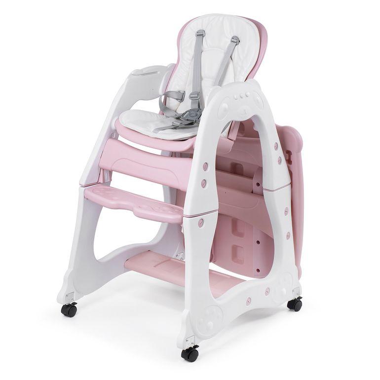Baby Vivo 2 in 1 Kinderhochstuhl / Kombihochstuhl aus Kunststoff mit Tisch und Rollen - Mara in Rosa – Bild 3