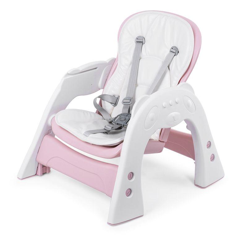 Baby Vivo Chaise haute 2 en 1 pour enfants / chaise haute combinée en matière plastique avec une table et des roulettes - Mara en Rose – Bild 15
