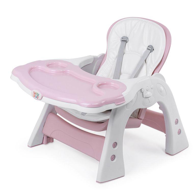 Baby Vivo Chaise haute 2 en 1 pour enfants / chaise haute combinée en matière plastique avec une table et des roulettes - Mara en Rose – Bild 14
