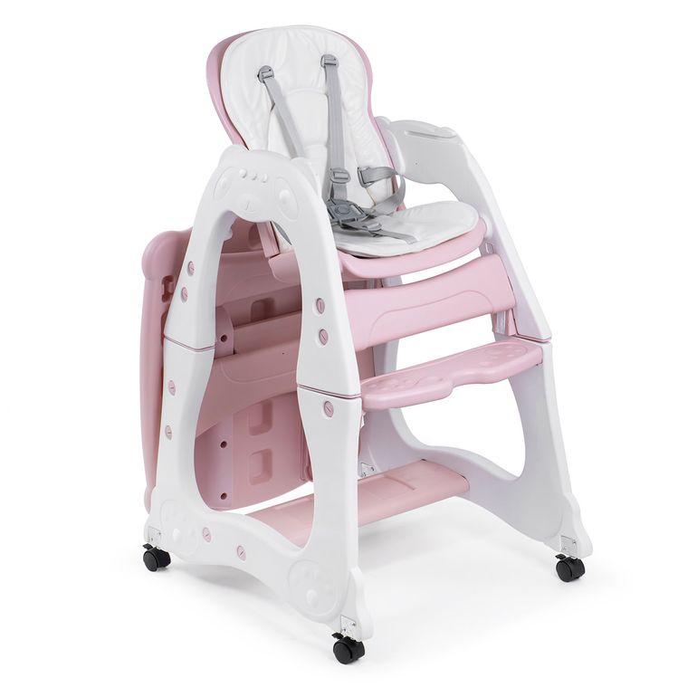 Baby Vivo Chaise haute 2 en 1 pour enfants / chaise haute combinée en matière plastique avec une table et des roulettes - Mara en Rose – Bild 8