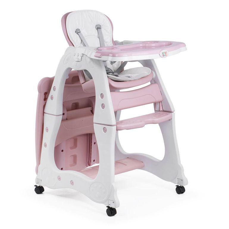 Baby Vivo Chaise haute 2 en 1 pour enfants / chaise haute combinée en matière plastique avec une table et des roulettes - Mara en Rose – Bild 7