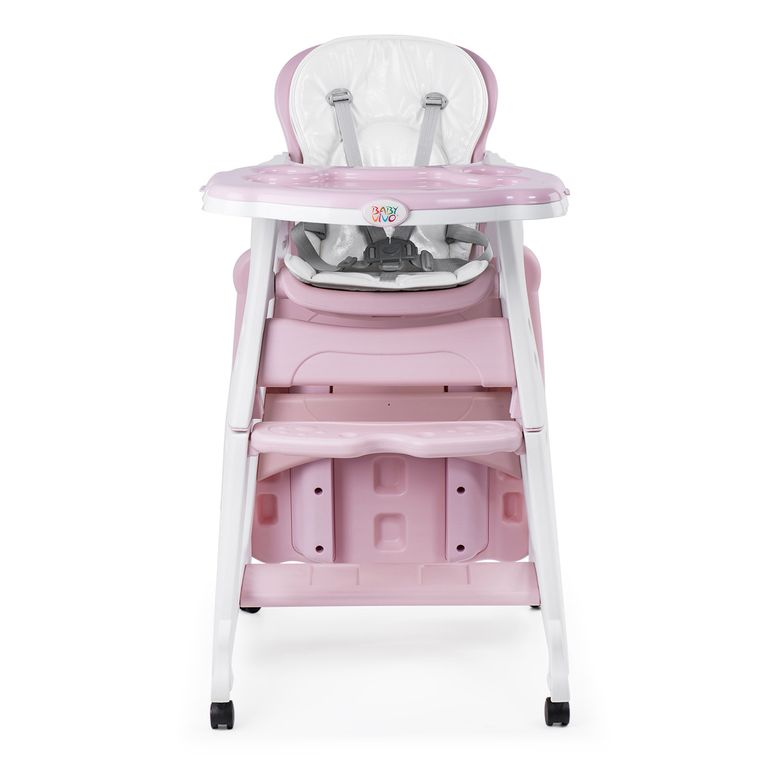 Baby Vivo 2-in-1 Child's Highchair / Combo Plastic High Chair with Table and Casters - Mara in Pink – Bild 9