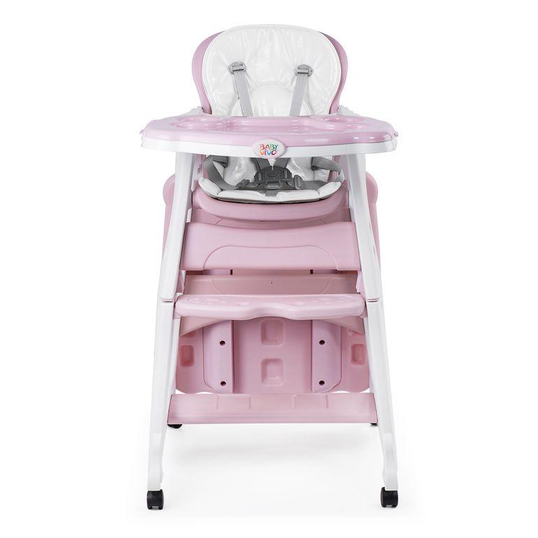 Baby Vivo 2 in 1 Kinderhochstuhl / Kombihochstuhl aus Kunststoff mit Tisch und Rollen - Mara in Rosa – Bild 9