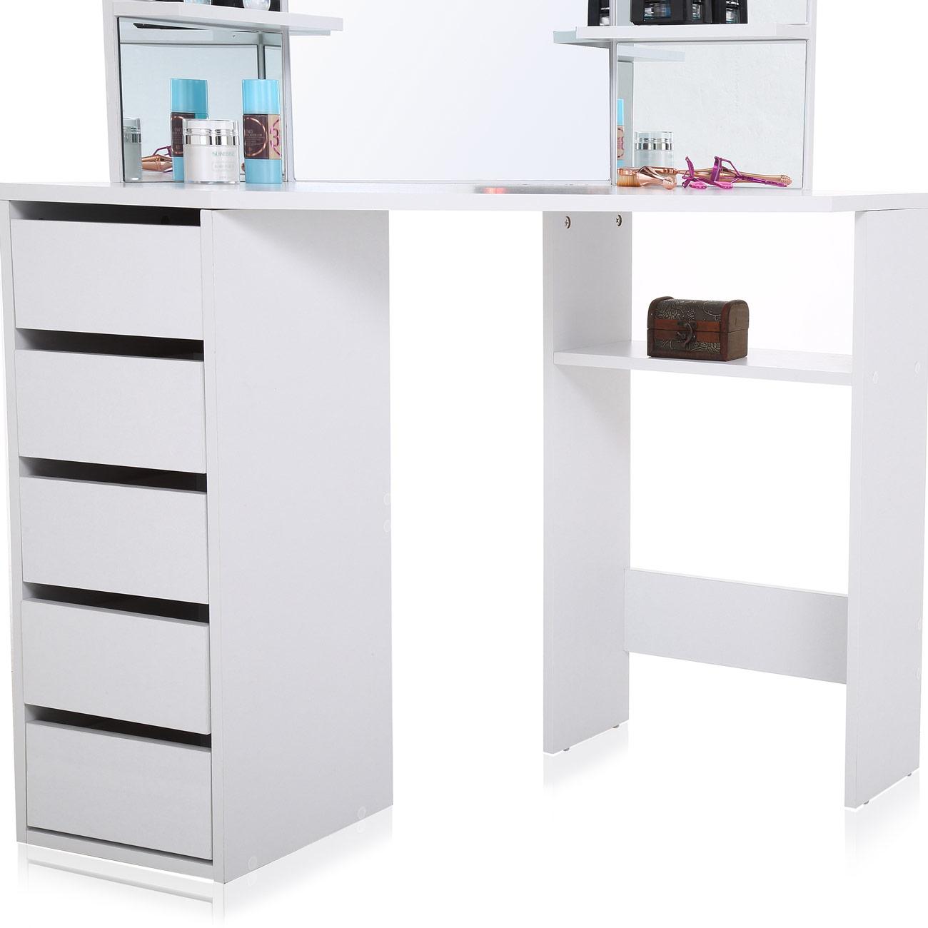 makika eckschminktisch schminktisch elle mit spiegel und schubladen haus garten wohnen. Black Bedroom Furniture Sets. Home Design Ideas