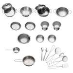 Baby Vivo Zubehör für Kinderküchen - 22-teiliges Kochgeschirr Set aus Edelstahl