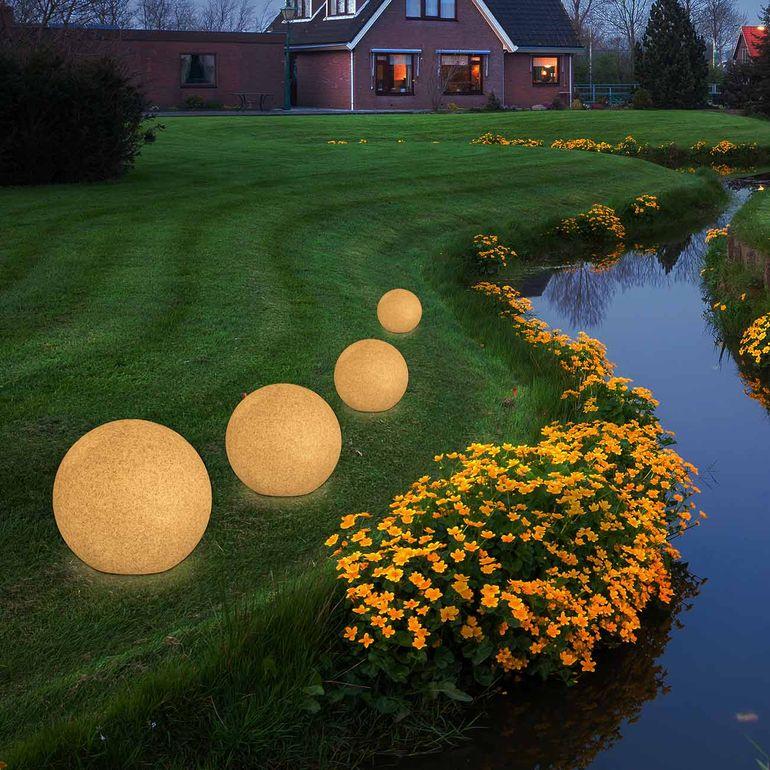 MAXCRAFT Lampade da Giardino a Sfera / Sfera Luminosa - Ø 30 cm Grigio Pietra – Bild 5