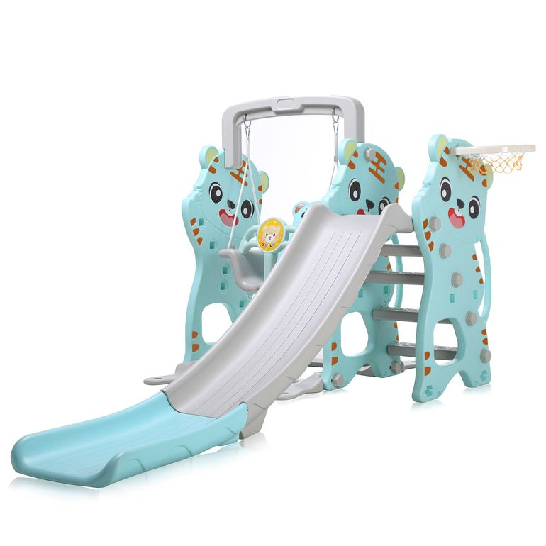 Baby Vivo Kids Swing Playground with Slide for Indoor and Outdoor in Turquoise / Grey – Bild 2