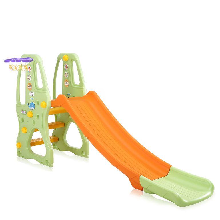 Baby Vivo Kinderrutsche / Rutsche mit Basketballkorb - Orange / Grün – Bild 1