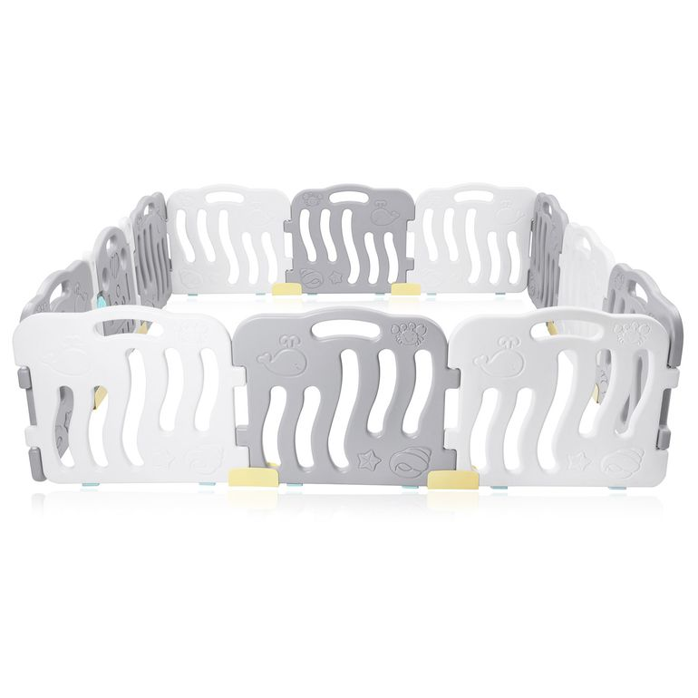 Baby Vivo Playpen Plastic 12 Elements in Grey / White - Milo – Bild 4