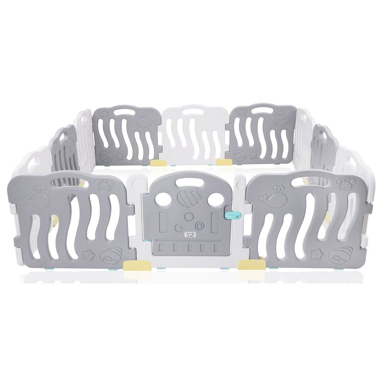 Baby Vivo Playpen Plastic 12 Elements in Grey / White - Milo – Bild 1