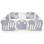 Baby Vivo Laufgitter aus Kunststoff 12 Elemente mit Tür in Grau / Weiß - Milo