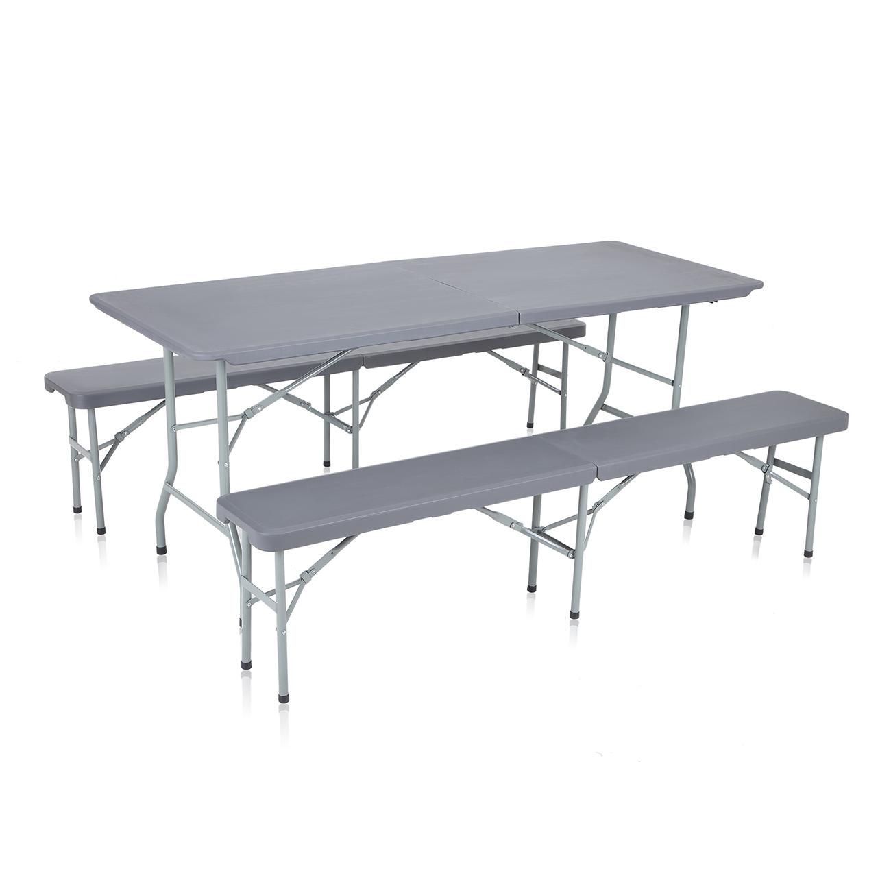 strattore set de jardin en plastique 2x banc et table pliable en gris fonc maison jardin. Black Bedroom Furniture Sets. Home Design Ideas