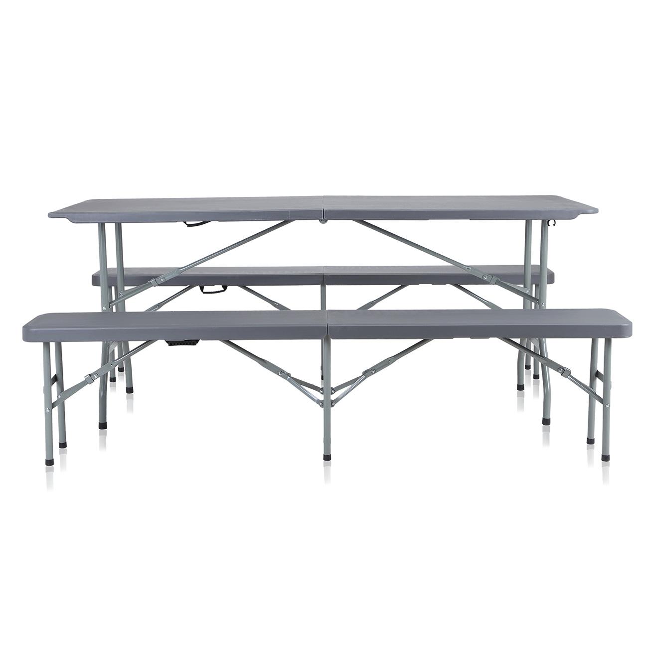 Strattore Set de Jardin en Plastique - 2x Banc et Table - Pliable en Gris  foncé