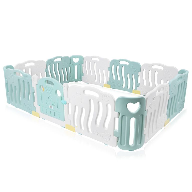 Baby Vivo Playpen Plastic 14 Elements in Turquoise / White - Bailey  – Bild 1