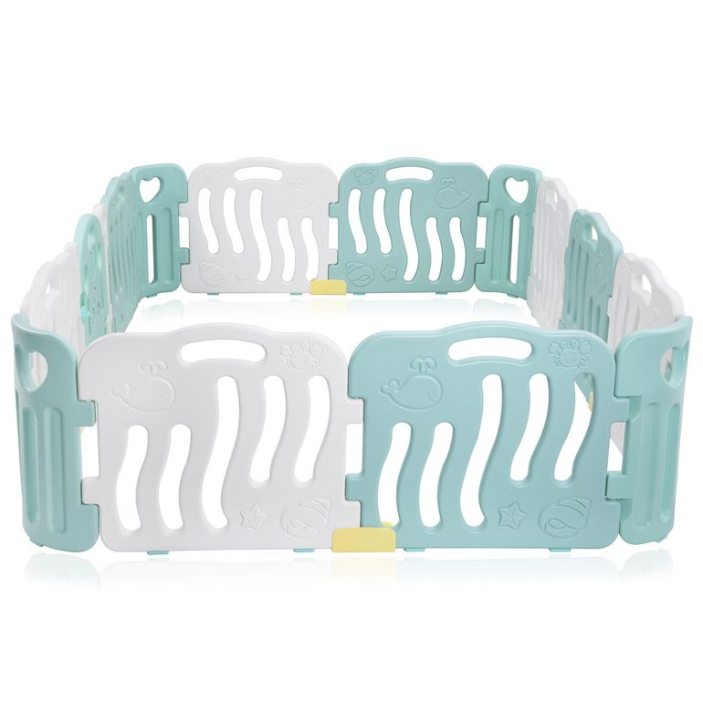 Baby Vivo Playpen Plastic 14 Elements in Turquoise / White - Bailey  – Bild 4