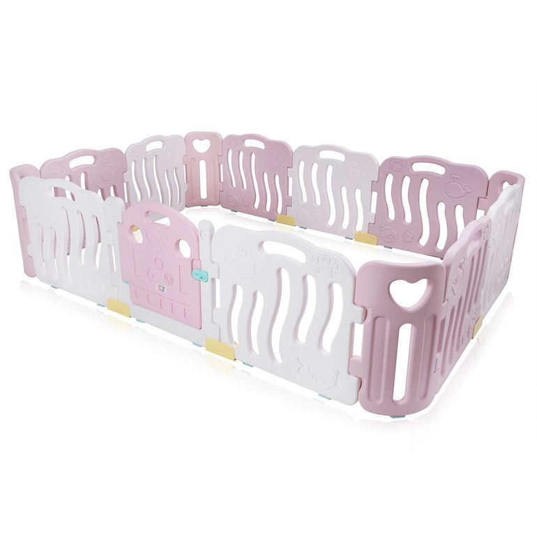 Baby Vivo Playpen Plastic 14 Elements in Pink / White - Bailey  – Bild 1