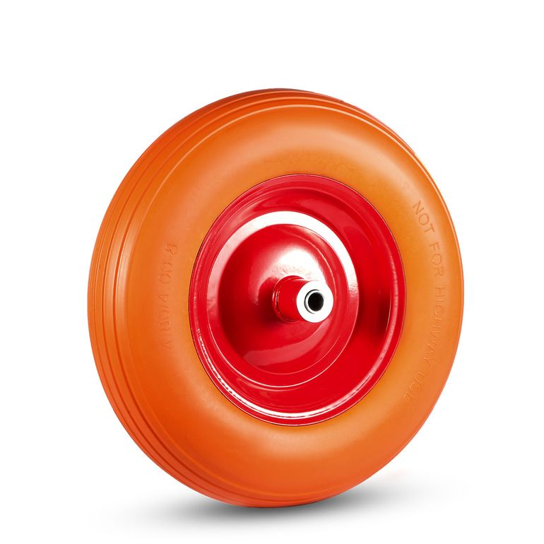 MAXCRAFT Wheelbarrow Wheel PU Tyre with Axle - Orange/Red – Bild 1