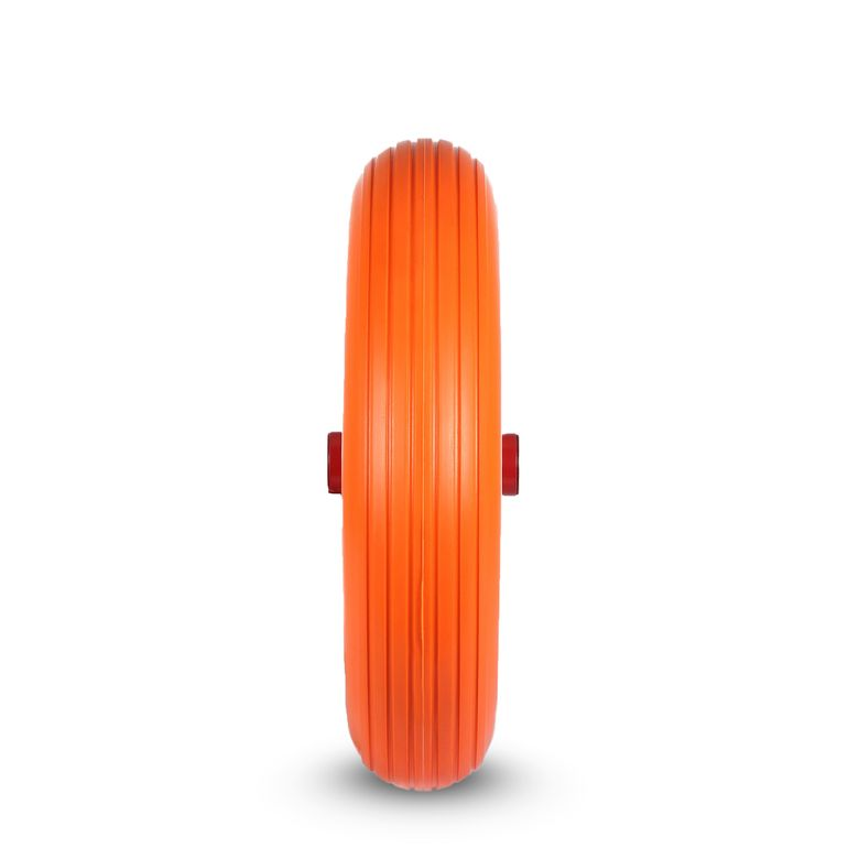 MAXCRAFT Wheelbarrow Wheel PU Tyre with Axle - Orange/Red – Bild 2