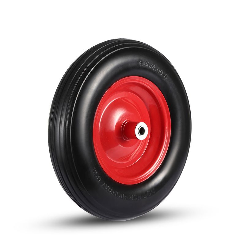 MAXCRAFT Wheelbarrow Wheel PU Tyre with Axle - Black/Red