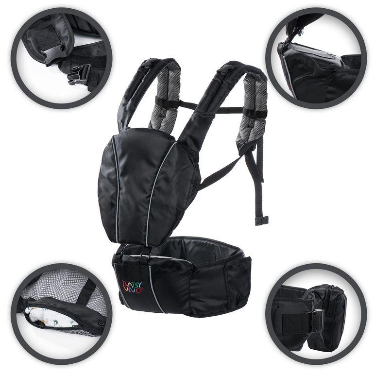Baby Vivo Babytrage / Rückentrage mit integriertem Sitz - in Schwarz/Grau B-Ware – Bild 1
