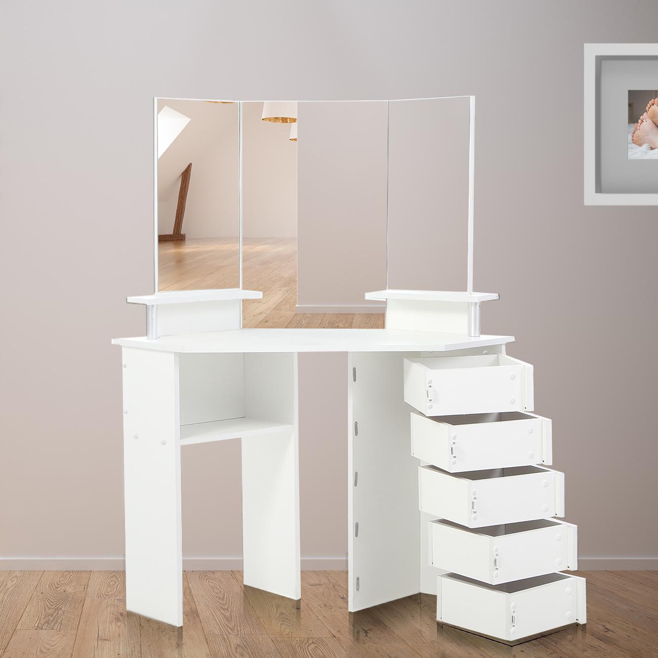 Ordinaire Makika Corner Dressing Table / Corner Make Up Table TYRA With 5 Adjustable  Drawers | MA Trading