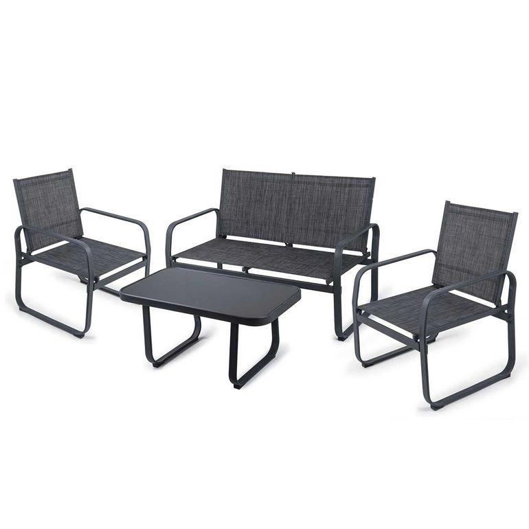 Strattore Gartenset Loungeset - Sitzgruppe mit 2 Stühlen, Sitzbank und Glastisch – Bild 1