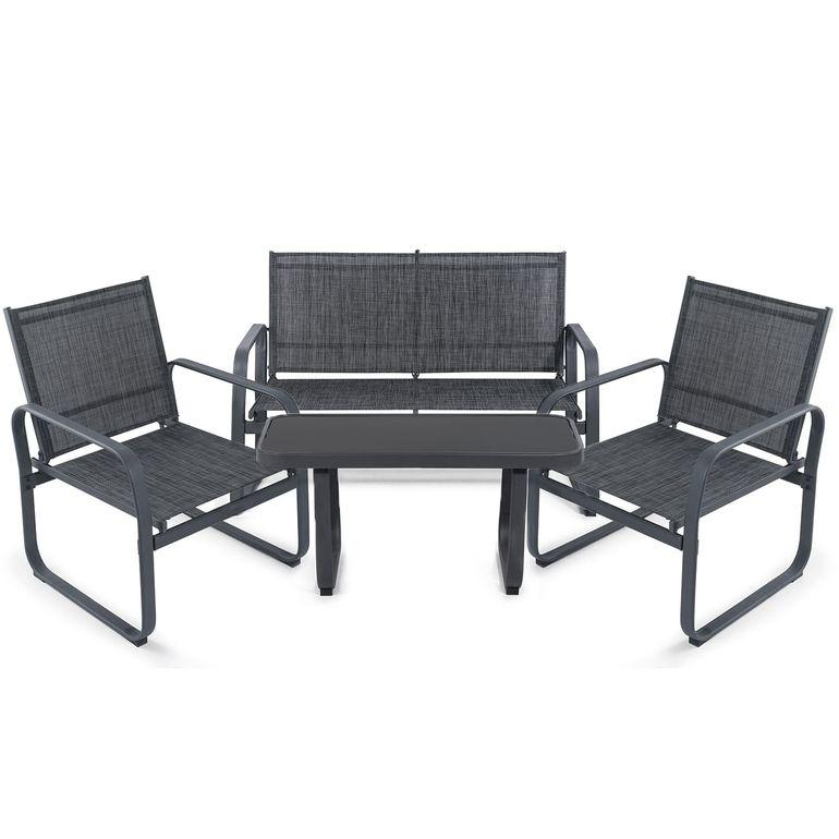 Strattore Gartenset Loungeset - Sitzgruppe mit 2 Stühlen, Sitzbank und Glastisch – Bild 2