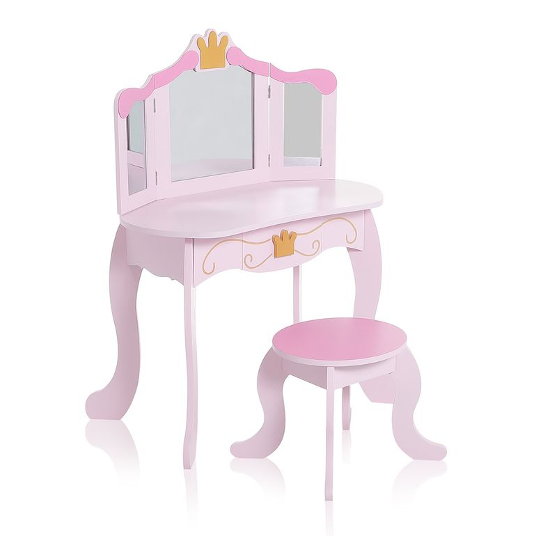 Baby Vivo Children Makeup Table FIONA with foldable Mirrors and Stool