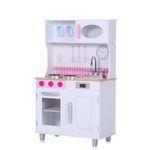 Baby Vivo Kinderküche Spielküche aus Holz - Romy in Weiß 001