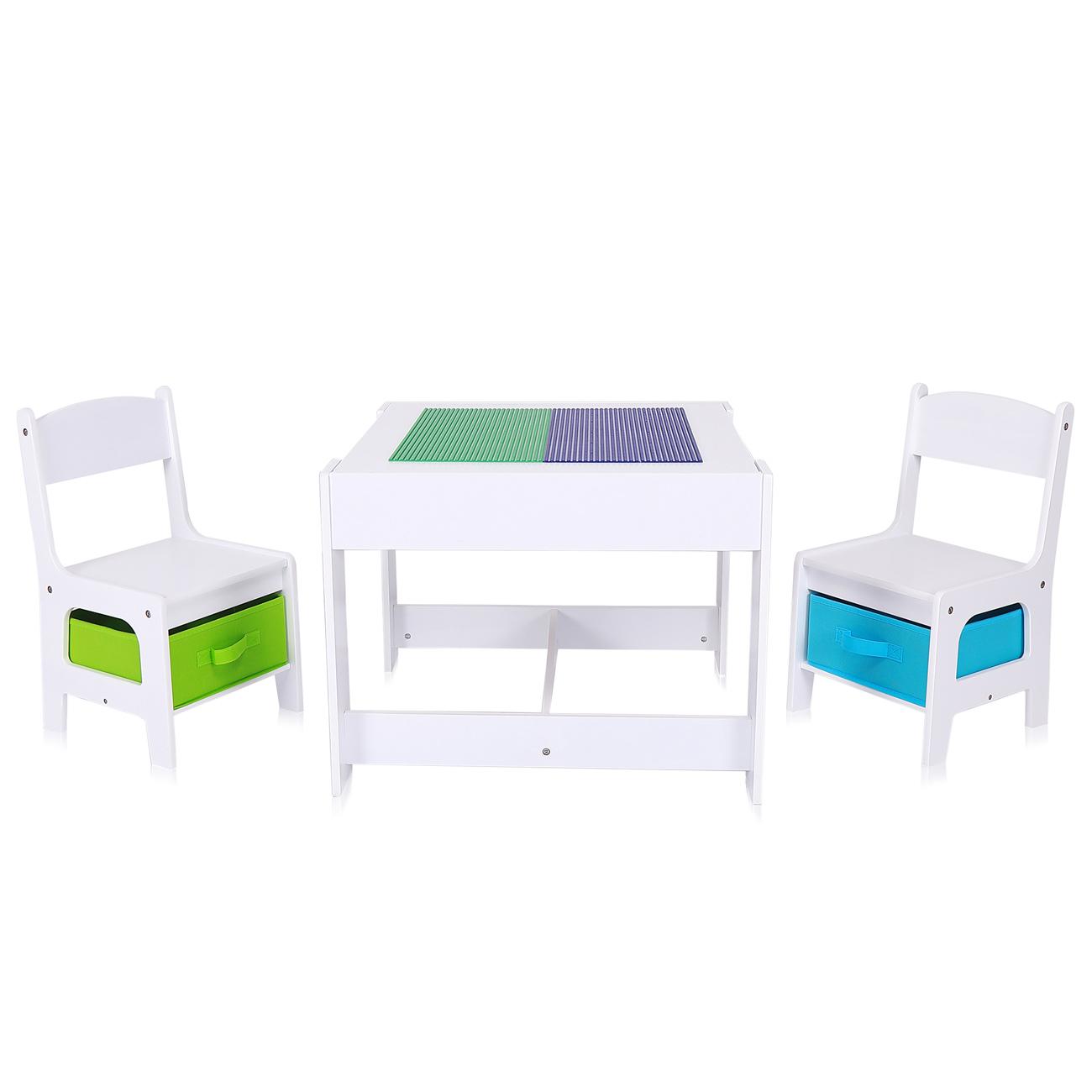 Sedie E Tavoli In Legno Per Bambini.Baby Vivo Set Tavolo Da Attivita Per Bambini Con 2 Sedie Fatto Di
