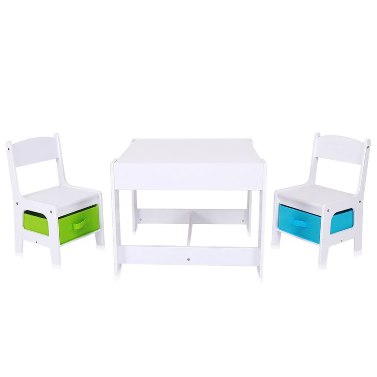 Baby Vivo Set Children's Activity Table with 2 Chairs made of Wood - Moritz