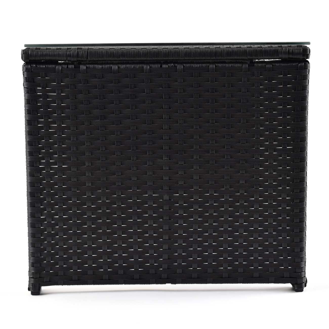 ma trading polyrattan tisch gartentisch mit glasplatte in schwarz haus garten garten rattanm bel. Black Bedroom Furniture Sets. Home Design Ideas