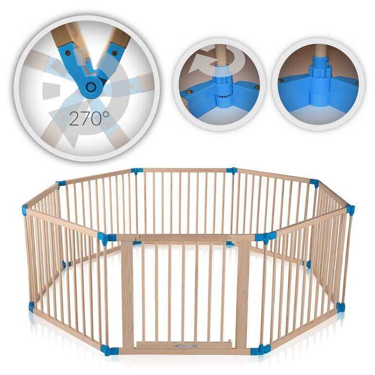 Baby Vivo Baby Child Playpen made of Wood 8 Elements - individually adjustable - PREMIUM – Bild 1