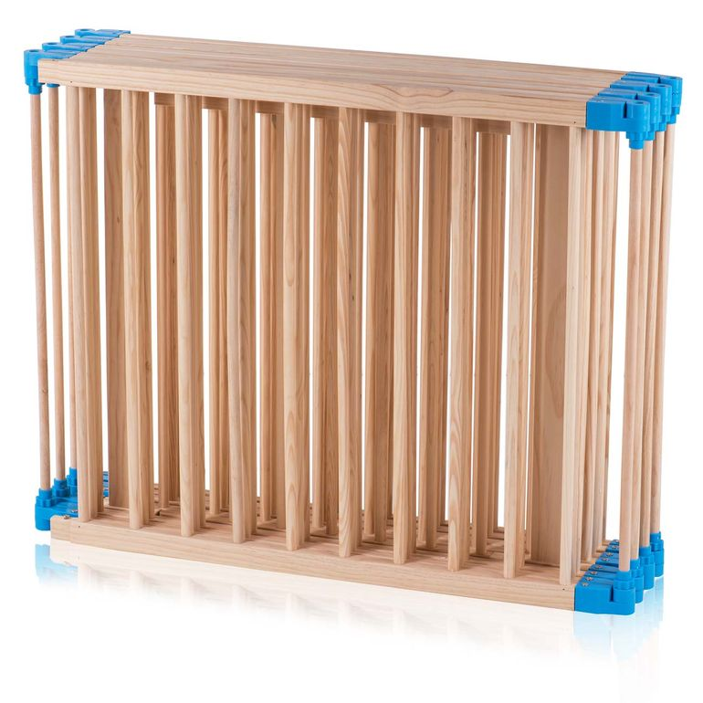 Baby Vivo Baby Child Playpen made of Wood 8 Elements with blue Connections - Foldable PREMIUM – Bild 10
