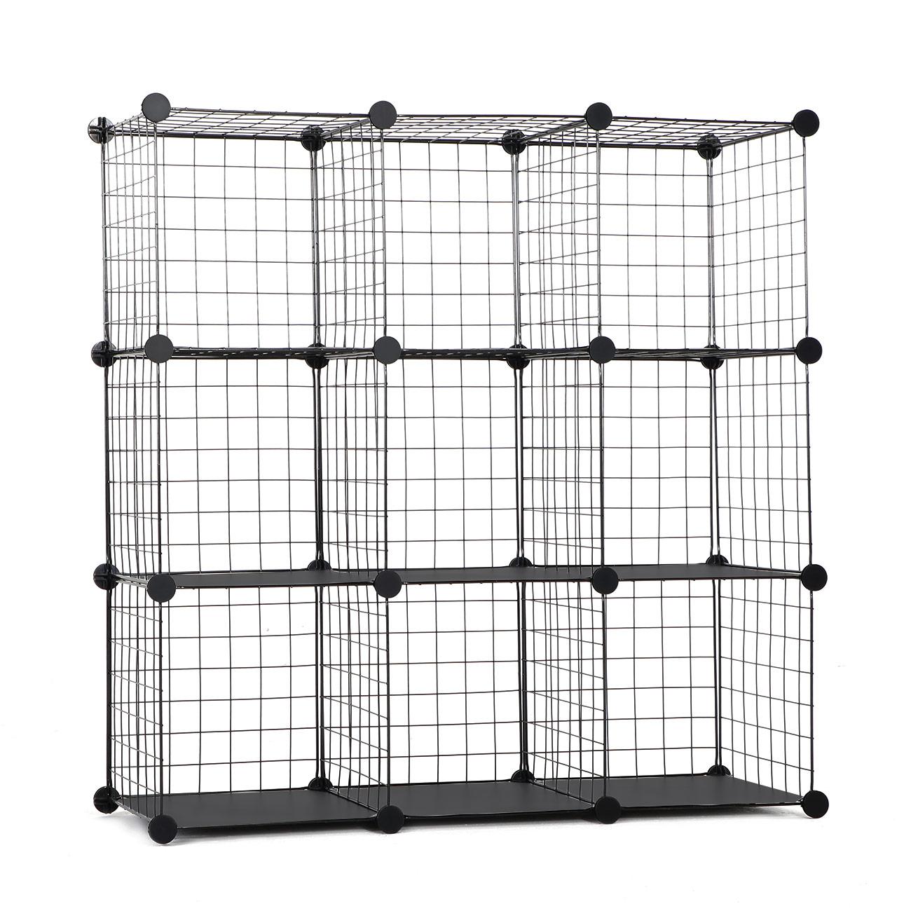 Cubes De Rangement Armoire Rayonnages Fil Métallique Étagère 9 Cubes Makika | eBay