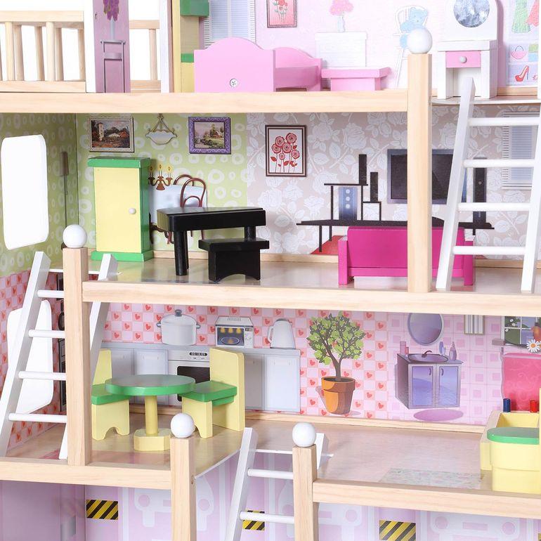 Baby Vivo Puppenhaus Lavinia aus Holz mit Zubehör B-Ware – Bild 11