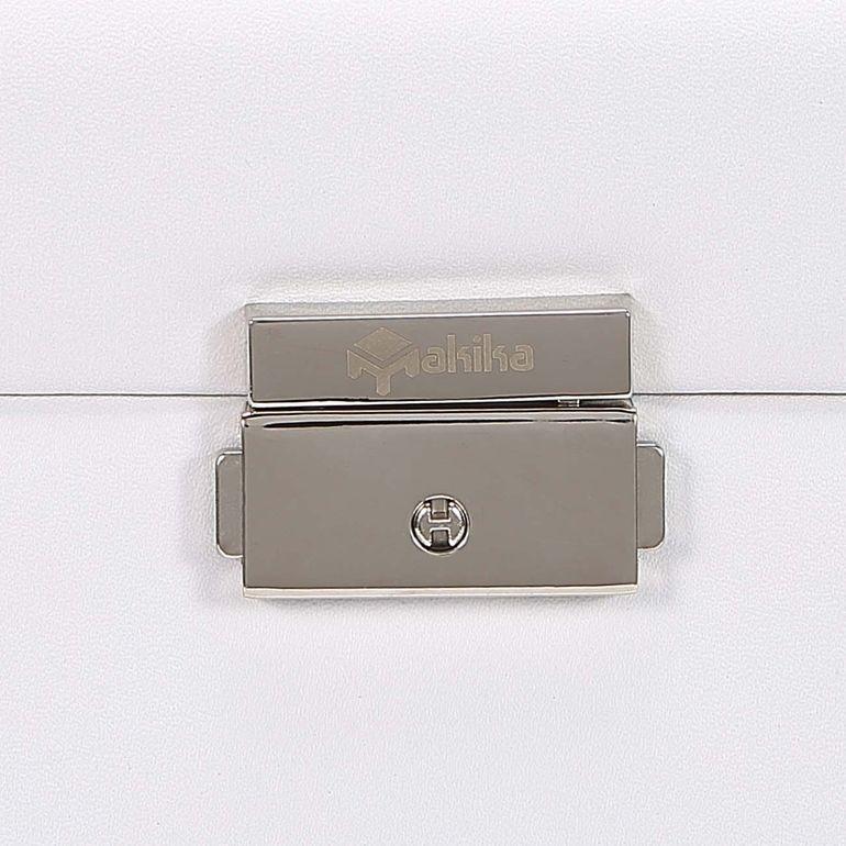 Makika Schmuckaufbewahrung / Schmuckkästchen mit Schloss und aufklappbaren Seitenfächern - in Weiß B-Ware – Bild 12