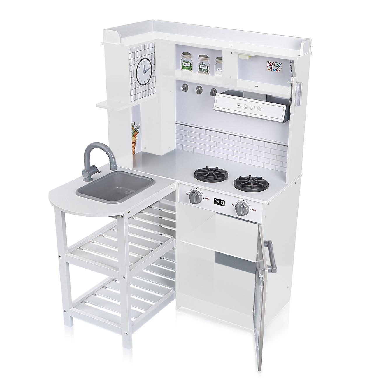 Suoni E Rumori In Cucina baby vivo cucina per bambini in legno con luci e suoni - luis in bianco