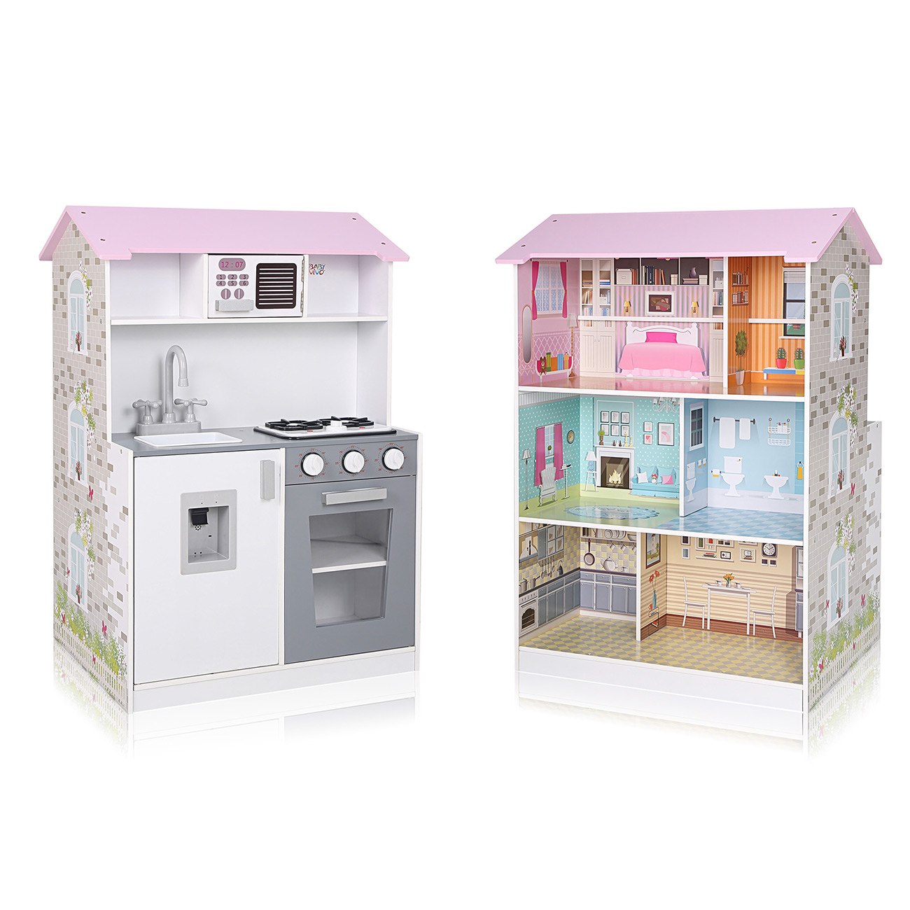 Baby Vivo Cucina Per Bambini E Casa Delle Bambole 2in1 Mira In Legno Ma Trading