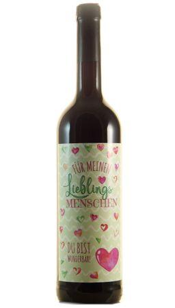 """Geschenkartikel Dornfelder Spätburgunder """"Lieblingsmensch"""" 0,7l, alc. 12 Vol.-%, Wein"""