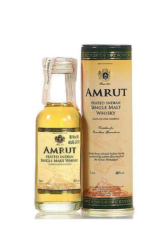 Amrut Peated Miniatur Indian Single Malt Whisky 0,05l, alc. 46 Vol.-%