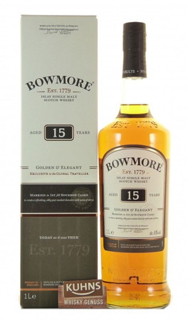 Bowmore 15 Jahre Golden & Elegant Islay Single Malt Scotch Whisky 1,0l, alc. 43 Vol.-%