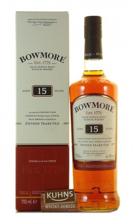Bowmore 15 Jahre Islay Single Malt Scotch Whisky 0,7l, alc. 43 Vol.-%