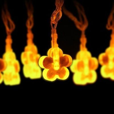 LED Deko Lichterkette Weihnachtsbeleuchtung DeKobeleuchtung 10m 20LED Lämpchen Motiv Blume