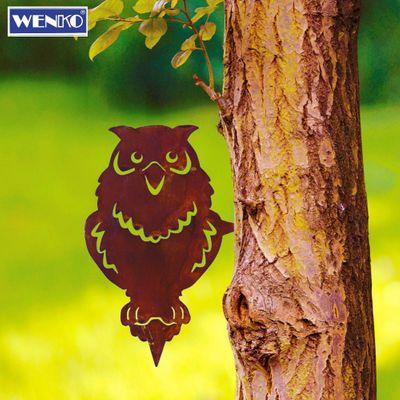 """Wenko Gartenstecker Rostpatina """"Eule"""" Gartendekoration Baumstecker Eisen 26 x 17 x 0,2 cm – Bild 1"""