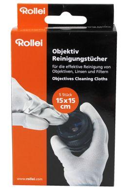 Rollei 5er set Objektiv Reinigungstücher - Mikrofasertücher für Linsen, Displays,Filter