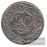 Polen KM-Nr. : 12 1923 sehr schön Nickel 1923 20 Groszy Gekrönter Adler