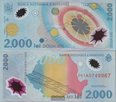 Rumänien Pick-Nr: 111b ohne Folder bankfrisch 1999 2.000 Lei