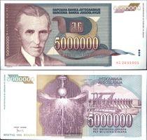 Jugoslawien Pick-Nr: 121 gebraucht (III) 1993 5 Mio. Dinara