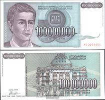 Jugoslawien Pick-Nr: 124 gebraucht (III) 1993 100 Mio. Dinara